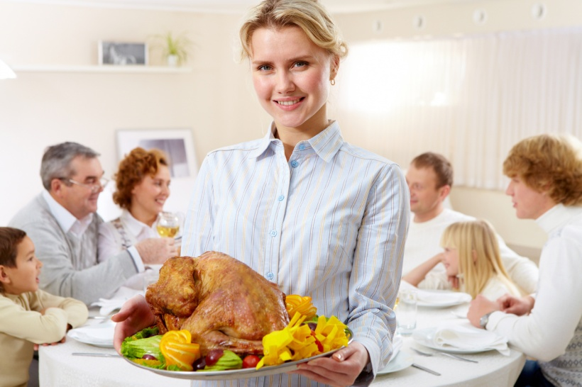 Woman with turkey