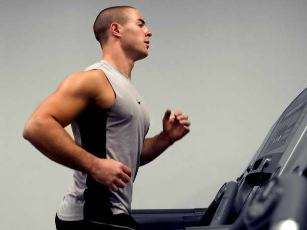 Running on a treadmill thereby including some aerobic exercising